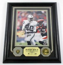 Jerry Rice Signed Photo Display Pin Coin Highland Mint Framed /80 Auto DF025419