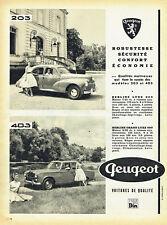 Publicité Advertising 078  1957   les Peugeot 203 & 403 berline