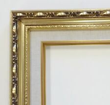 Picture Frame-16x20 Vintage Antique Style Baroque Gold Ornate w Linen Liner 139G