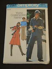 Retro Mod VTG '75 SIMPLICITY 7297 Dress or Top Scarf Hat & Pants PATTERN Size 10