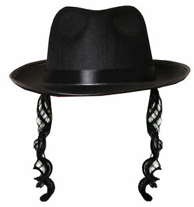BLACK FEDORA WITH CURLY SIDEBURNS JEWISH RABBI ADULT FANCY DRESS COSTUME OUTFIT