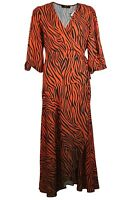 C&A Yessica Womens Orange Black Zebra Animal Print Wrap Long Midi Tea Dress