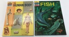 Lot of 2 Vintage How and Why Wonder Books Human Body Fish Hardcover HC