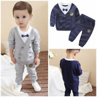 2pcs Toddler Kids baby boys tracksuit set pullover top+ pants outfits gentleman