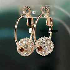 18K Rose Gold Gp Austrian Crystal Small hoop Diameter 2cm Ball Earrings BR1257