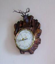 Black Forest Handcarved Wood Barometer With Deer Head