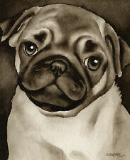 Pug Puppy Art Print Sepia Watercolor Painting by Artist DJR