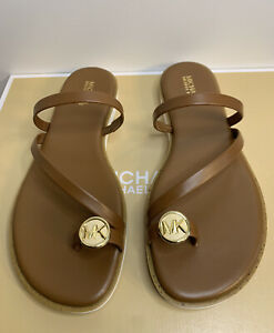 New - Women's Michael Kors Letty Luggage Leather Thong Sandals Size 8