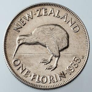 1935 New Zealand Florin AU Details (Scratched) KM #4