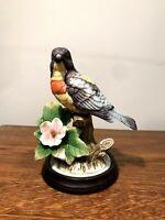 "J. BYRON Porcelain Bird Figurine Signed Royal Crown  with Wooden Base - 6"" High"