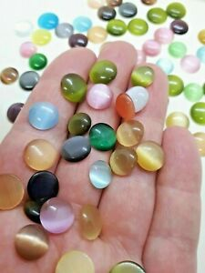 70 Pcs Cat Eye Glass Cabochons Mixed Size Color Half Round Dome Flatback 9-11 MM