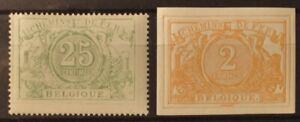 BELGIEN - EISENBAHNPAKETMARKEN 1882 Nr. 10 + 14 (beide postfrisch) SELTEN!!!