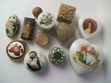 More details for trinket box / pill box job lot x11, heart shaped, round shaped bundle
