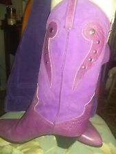 Womens Arnoldo Marcella Italy Boots; American Size 7. Purple Leather And Suede