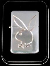Playboy Bunny Rabbit Engraved Chrome Cigarette Lighter Gift Case Gift LEN-0036