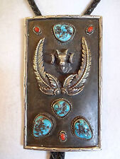 HUGE Vintage NAVAJO Sterling Silver CORAL & TURQUOISE BOLO Tie, BigHorn Sheep