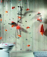 Spirella Goldfish Orange Plastic Shower Curtain 100  PVC Transparent Orange 180
