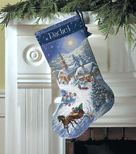 Cross Stitch Kit ~ Gold Collection Sleigh Ride At Dusk Christmas Stocking # 8712