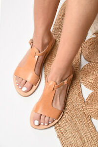 Ancient Greek style real natural leather sandals handmade slingback open toe