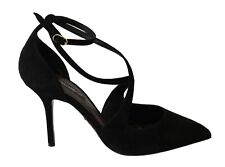 DOLCE & GABBANA Shoes Black Suede Ankle Strap Pumps Heels EU41 / US10.5