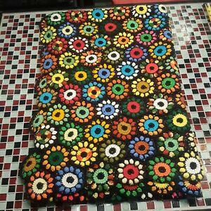 "Vintage Granny Square Crochet Afghan Throw Blanket 64"" x 40"""