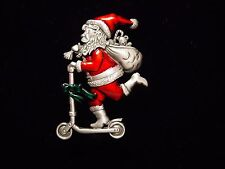 """JJ"" Jonette Jewelry Silver Pewter 'Santa on Scooter with Bag of Toys' Pin"