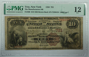 1882 $10 Troy New York NY Manufacturers Bank Note CH# 721 Fr. 480 PMG F-12