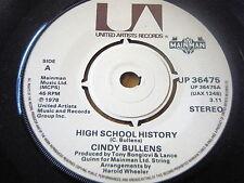 "CINDY BULLENS - HIGH SCHOOL HISTORY     7"" VINYL"