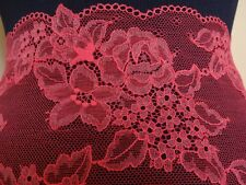 Französische elastische Spitze aus Calais in wassermelone rot ,pink21cm breit