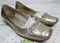 Sesto Meucci women's size 7 M gold w/ silver leather flats comfort shoes