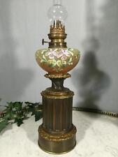 """LAMPE A PETROLE ANCIENNE """" HADROT """" LAMPISTE TOUPIE A DECOR FLORALES EMAILLÉES"""