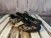 Womens shoes sneakers coach Paxton 7.5 a1439 monogram logo black flats comfort