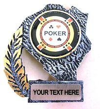 RESINA ARGENTO Poker Chip carte ACE ROYAL FLUSH TROFEO PREMIO Gratuito Incisione T8626