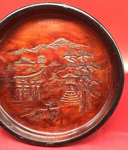 Large Japanese Antique hand carved wood bowl SIGNED landscape buildings lacquer