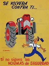 Propaganda cultural Health Safety work Spain tractor póster tipo Print bb2433a