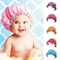 HN- Baby Kids Waterproof Elastic Shower Bathing Bath Salon Hair Head Cap Hat Eye
