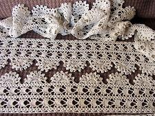 GRANDE Pièce de DENTELLE ANCIENNE Faite Main Coton Blanc 3,30 Mètres sur 9 cm