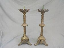 Pair of Antique Brass Altar Prickets / Candle Holders Candlesticks