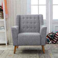 Grey Linen Fabric Retro Button Back Accent Armchair Tub Chair Living Room Office