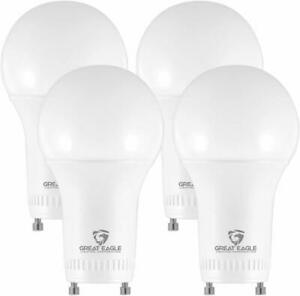 Great Eagle A19 100W Replacement GU24 LED Bulb Soft White 3000K 1570 (4 pack)