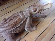 Large Hand Carved Wooden Crocodile 102cm    Pick up only