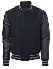 Coole US Windhound College Jacke schwarz mit schwarzen Echtleder Ärmel XL
