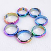 Non-magnetic Metallic rainbow AB color coated hematite ring Size 6 to 12