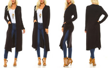NEW ISAAC LIEV WOMEN'S EXTRA LONG CARDIGAN WITH SIDE SLITS BLACK SZ M USA MADE