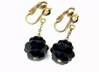 VINTAGE GOLD Tone Black French Jet Glass Flower CLIP ON Drop EARRINGS GIFT BOXED