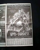 Best ARMY OF DARKNESS Cult Film Movie Opening Day AD & Review1993 L.A. Newspaper