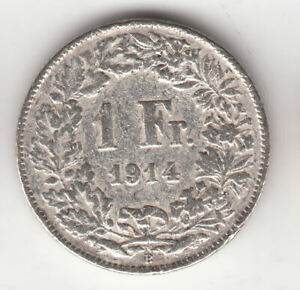 SWISS SILVER 1 FRANC 1914             112M      BY COINMOUNTAIN