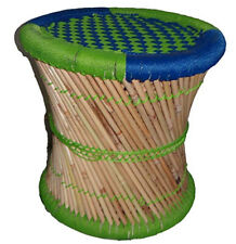 Handmade Handicraft Office Stool Pouf Patio Made Bamboo Stick & Rope Multicolor