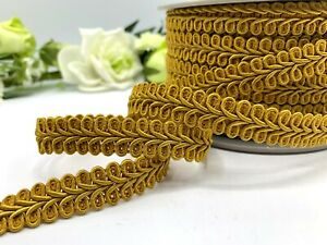 Mustard gold gimp braid 15mm scrolled upholstery trim sewing home decor edging