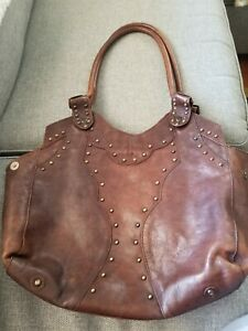 Frye Vintage Stud Shoulder Bag XL Brown Rare